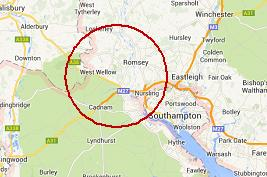 (Image missing - a map of Romsey area